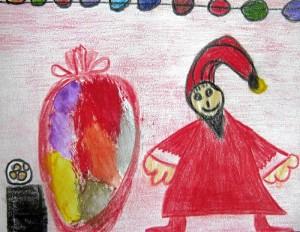 Der Weihnachtsmann - gezeichnet von Kiara Dominguez (5 Jahre)